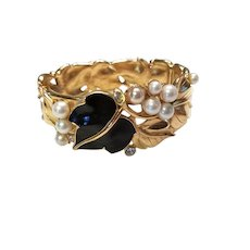 TRIFARI Clamper Bracelet Kunio Matsumoto Black Enamel & Faux Pearl