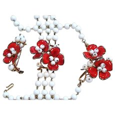 "TRIFARI RED Poured Glass ""Camellia"" Flower Necklace, Bracelet, Pin Very Good"