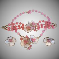 TRIFARI Necklace Bracelet Earrings PINK Camellia Poured Glass Petals & Beads