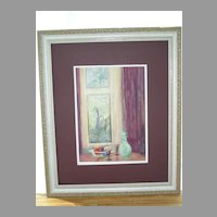 Lovely Interior Scene Water Color Painting on Board E M Freemantle Greensways 1920 Bucks County Pennsylvania Art