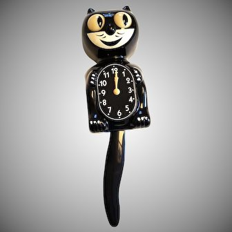 Felix KIT CAT KLOCK Black 1950s Working Moving Eyes Electric VINTAGE & Original Box