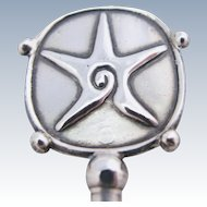 William Spratling Starfish Cocktail Stirrer Mexican Sterling Silver Eagle Mark Vintage