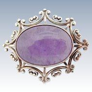Vintage Amethyst Sterling Brooch Natural Polished Cabochon Set In Hallmarked Scottish Silver