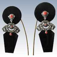 Sterling Silver Marcasite Faux Coral and Black Onyx Drop Dangle Vintage Earrings