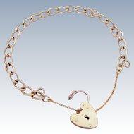 9k Gold Vintage Charm Bracelet With Heart Padlock Clasp