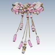 Vintage Pink Beaded Brooch Early Haskell Type