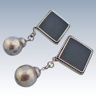 Huge Mexican Drop Earrings Sterling Silver Faux Onyx Bold 3 Inch Dangle Drop Vintage Clip Earrings