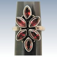 Garnet Sterling Silver Ring Vintage Large Floral Design Size 6.25