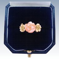 Vintage 14K Coral Ring Carved Angel Skin Rose Gold Hibiscus Flowers Signed Kamm Size 6