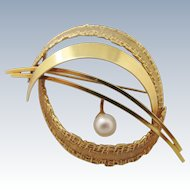 18K Gold Pearl Brooch Mid Century Modernist Brutalist 3D European