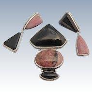Darla N Nordstrom Demi Parure Mexico Sterling Silver Pink Rhodonite Black Brooch Pendant Earrings
