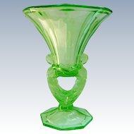 Art Deco Czech Libochovice Green Glass Figural Double Handle Nudes Vase