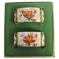 Traditional Imari 2451 Napkin Rings Royal Crown Derby Pair Boxed Serviette Holders