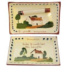 Pair Torquay Mottoware Pottery Ashtrays Cottageware Pin Dishes Vintage
