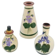 Torquay Pottery Scent Bottle Trio Mottoware Devon Violets Bristow's Boots Chemists Perfumes