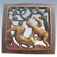 Antique Chinese Carving Small Architectural Wood Foo Dog And Man