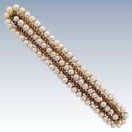 Antique Bar Brooch Seed Pearls 14K Gold