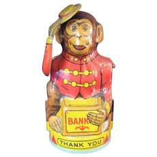 Chein Mechanical Bank Monkey Tipping Hat Lithographed Tin