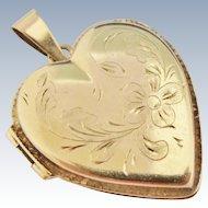 14K Gold Locket Heart Engraved Flowers Foliage Large Vintage Italian Pendant