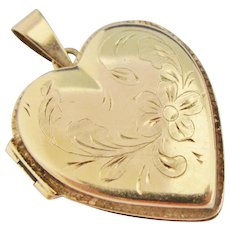 14K Gold Locket Heart Engraved Flowers Foliage Large Vintage Italian Pendant