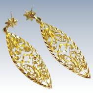 14K Gold Filigree Drop Dangle Earrings Diamond Cut