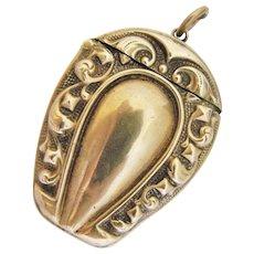 Antique Brass Horseshoe Match Safe Vesta Figural Holder