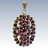 Bohemian Garnet Pendant Vintage Necklace Sterling Silver Chain