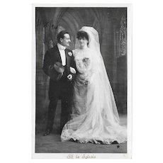 1907 RPPC Bride And Groom Wedding Postcard At The Church