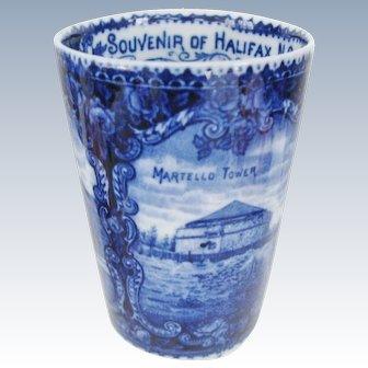 Antique Halifax Nova Scotia Blue And White Historical Souvenir Tumbler