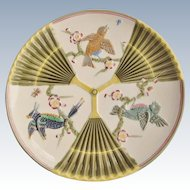 Antique Wedgwood Majolica Birds And Fans 9 Inch Plate