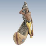 Native American Indian With Canoe Spelter Figure Franz Bergmann Design