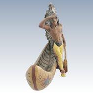 Native American Indian With Canoe Spelter Figure Franz Bergmann Design