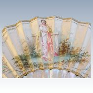 Antique Hand Painted Silk Fan Mother of Pearl Sticks