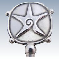 William Spratling Starfish Cocktail Stirrer Mexican Sterling Silver Eagle Mark