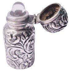 Antique Miniature Perfume Bottle Sterling Silver Birmingham 1889