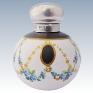 Antique Miniature Perfume Bottle Hand Painted With Sterling Silver Top