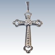 Vintage Sterling Silver Marcasite Cross Pendant