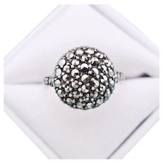 Art Deco Marcasite Sterling Silver Ring  Size 8 - Red Tag Sale Item
