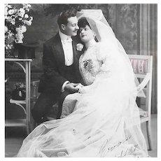 Real Photo 1907 Wedding Postcard
