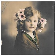 RPPC Young Girl With Flowers In Her Hair