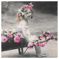 RPPC Young Girl With Flower Cart