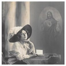 RPPC Edwardian Woman With Rosary & Prayer Book