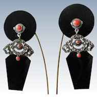 Vintage Dangle Earrings Sterling Silver Marcasite Faux Coral Onyx