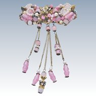 Pink Beaded Brooch Unsigned Early Haskell Type