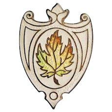 Edwardian Long Hatpin Enamel Sterling Silver Maple Leaf