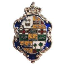 Edwardian Long Hatpin Enameled Sterling Silver Coat of Arms Design