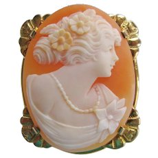 Vintage Shell Cameo Brooch In 10K Gold Setting