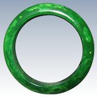 Marbled Green Bakelite Bangle Bracelet