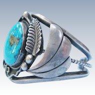 Al Joe Bracelet Native American Navajo Turquoise Sterling Silver Large Cuff