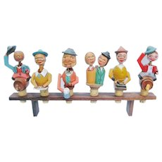 Mechanical Bottle Stopper Set of Six Carved Wood Articulated Corks With Stand